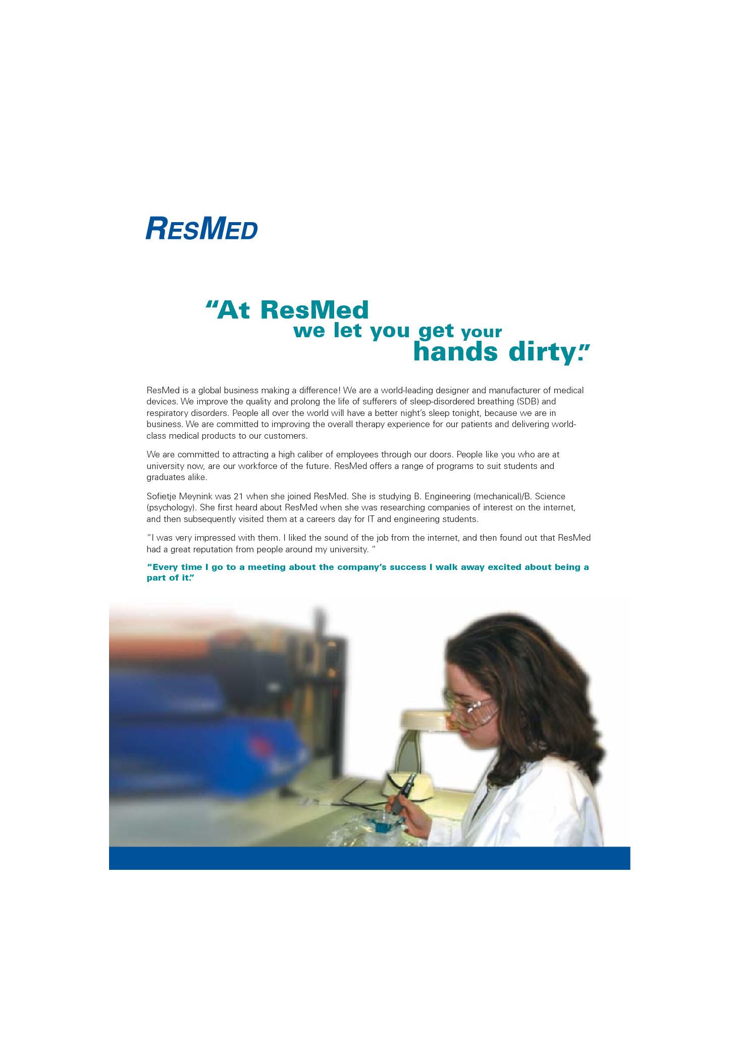 ResMed Recruitment Flyer